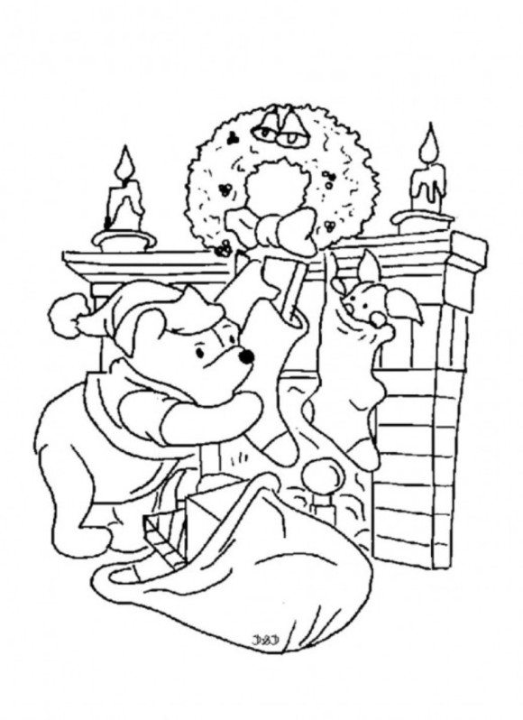 580x798 Pooh Bear Christmas Coloring Pages Winnie The Pooh Free Christmas
