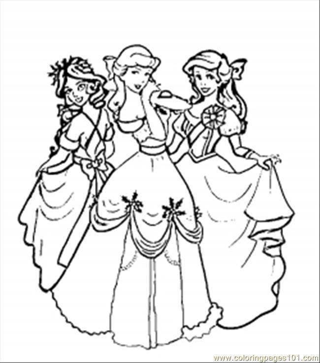 650x738 Christmas Disney Princesses Coloring Page