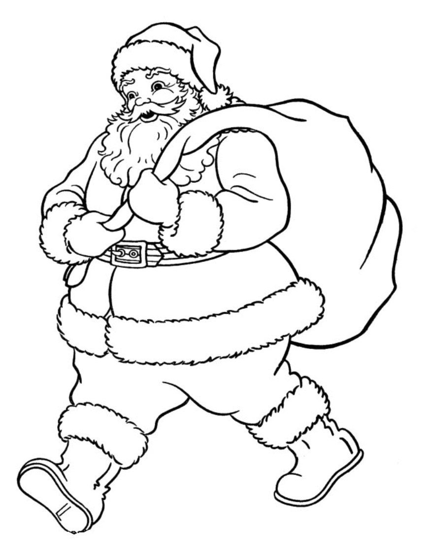 863x1099 Christmas Coloring Pages For Free Online Santa Printable