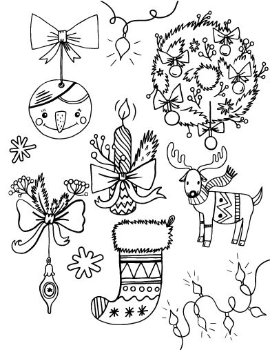 392x507 Christmas Ornaments Coloring Pages For Adults New