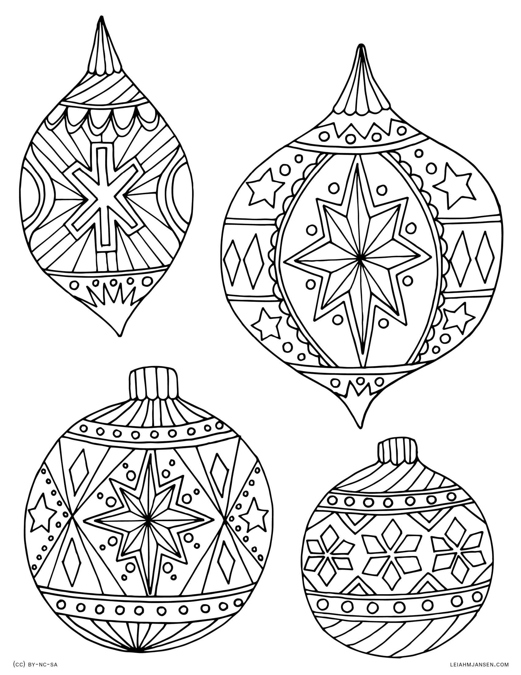 1700x2200 Christmas Ornament Coloring Pages Printable Free Christmas