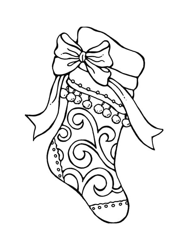 600x790 Tribal Decorated Christmas Stockings Coloring Pages