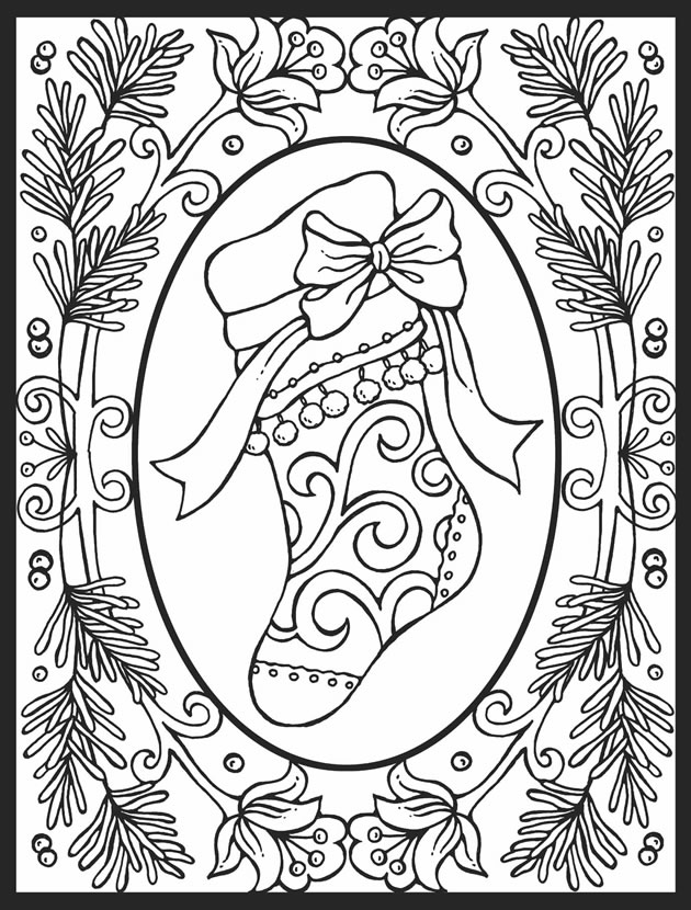 630x830 A Crowe's Gathering Christmas Stocking Free Coloring Page