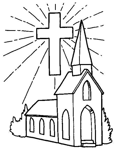 488x606 Church And Cross Coloring Page Free Church And Cross Template