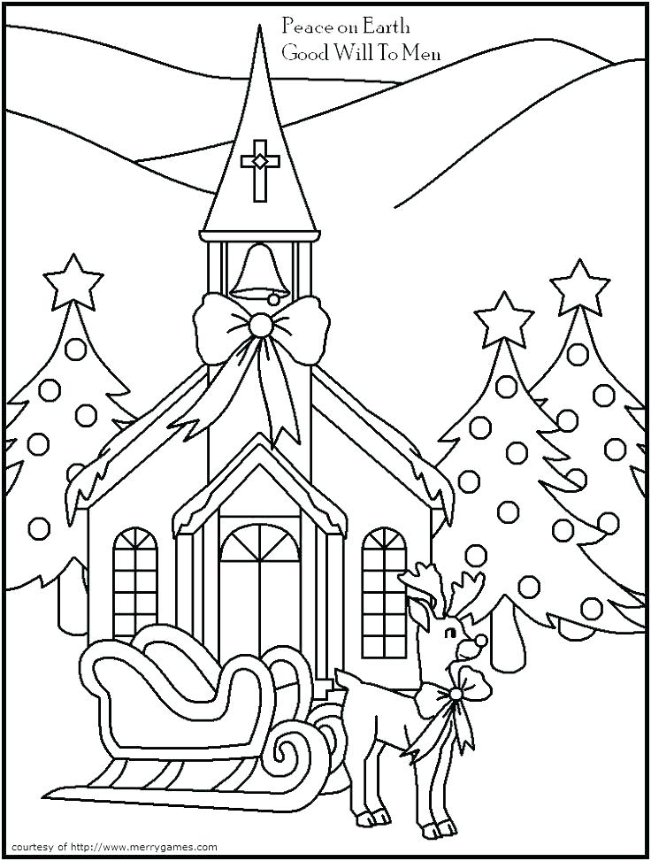 736x973 Elegant Church Christmas Coloring Pages And Beautiful Church