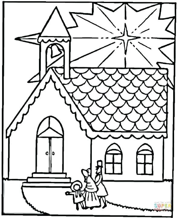 589x720 Church Coloring Page Family Visits Church On Coloring Page Free