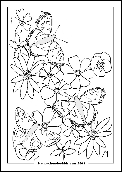 417x588 Cool Coloring Pages Flowers And Butterflies