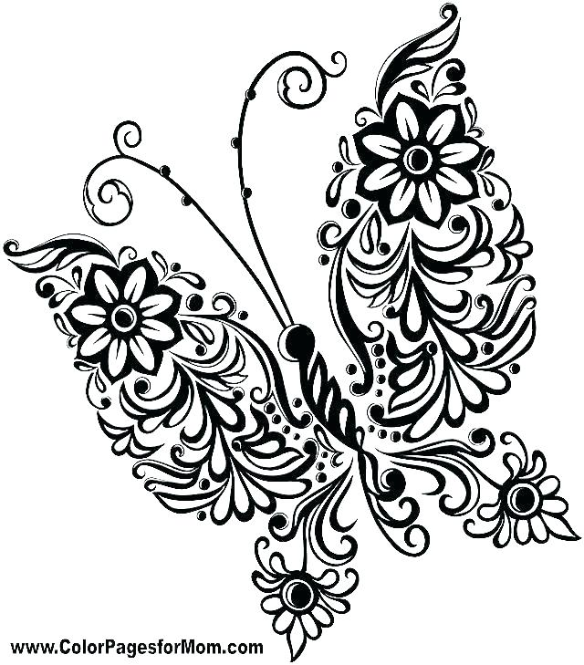 640x729 Butterfly Coloring Page Coloring Pages Flowers And Butterflies