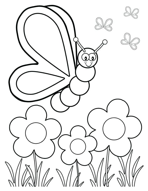 600x776 Coloring Pages Of Flowers And Butterflies Also Printable Coloring