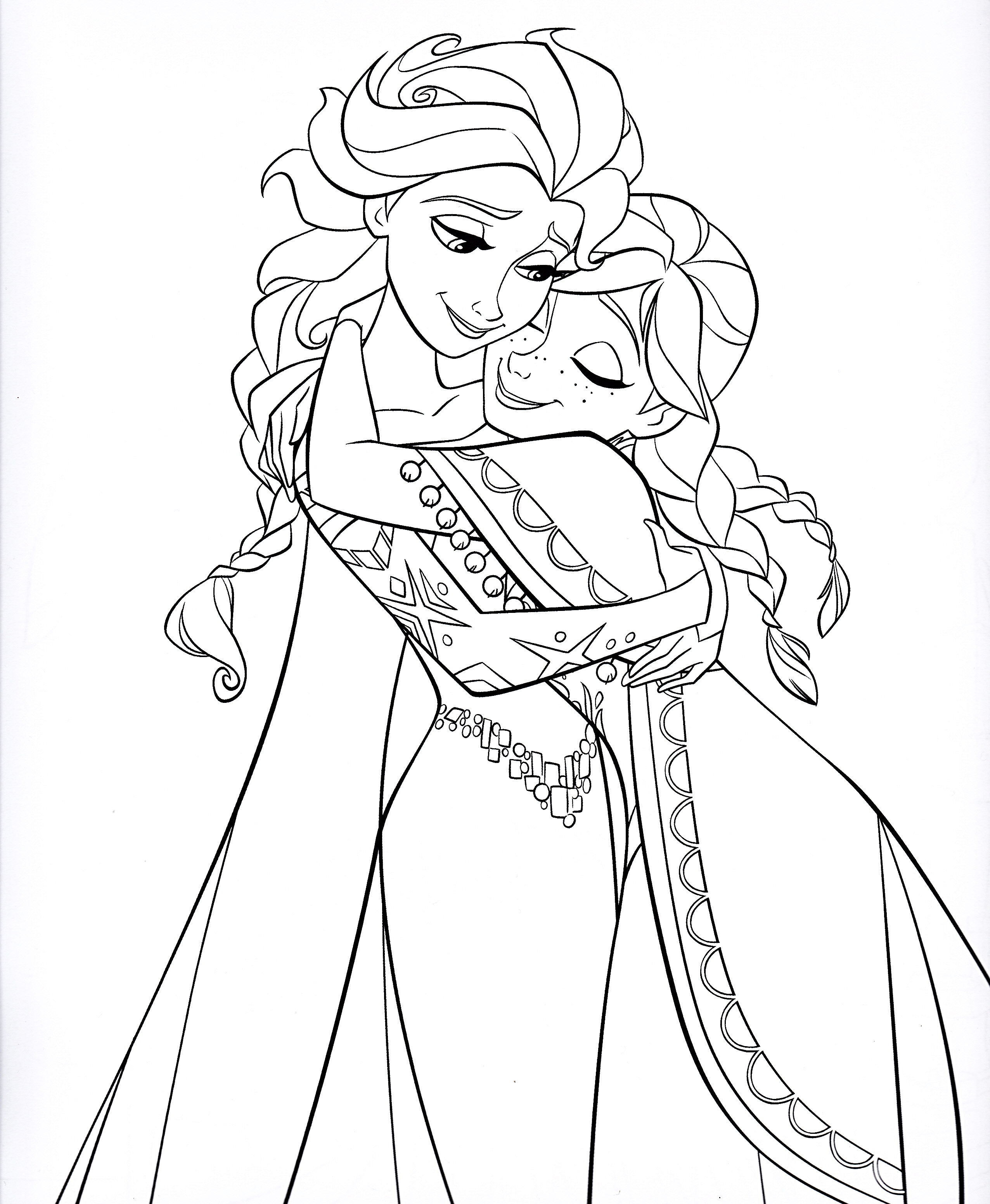 2552x3104 Elsa And Anna Free Coloring Page Disney Frozen Kids Movies