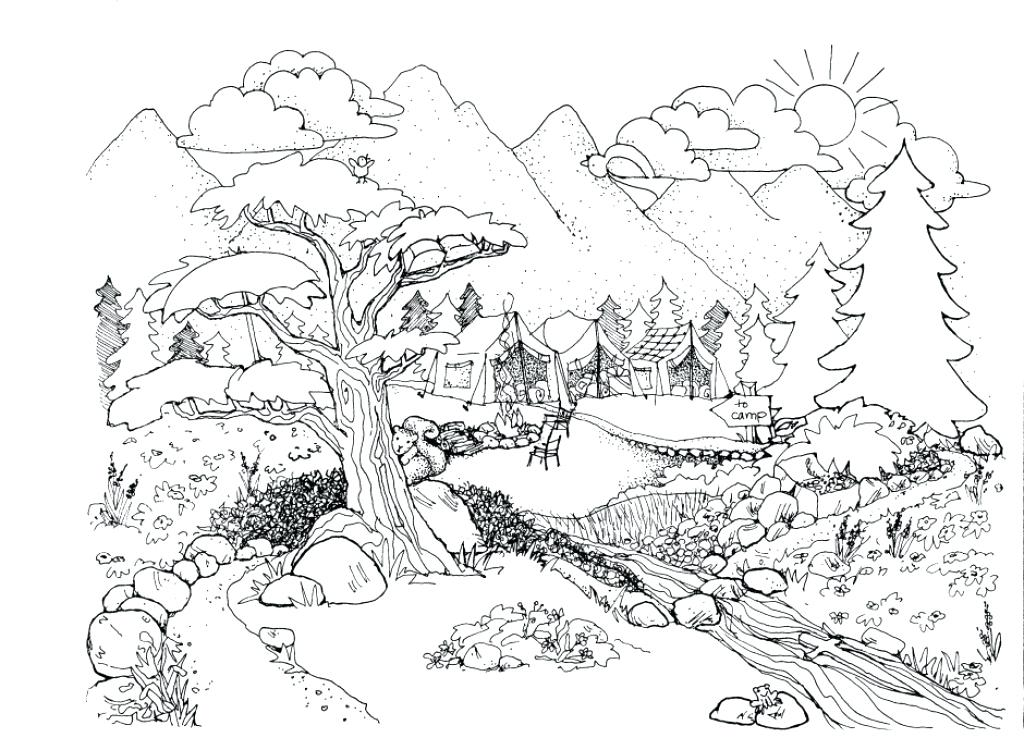 1024x750 Nature Coloring Pages Nature Scene Free Online Nature Coloring
