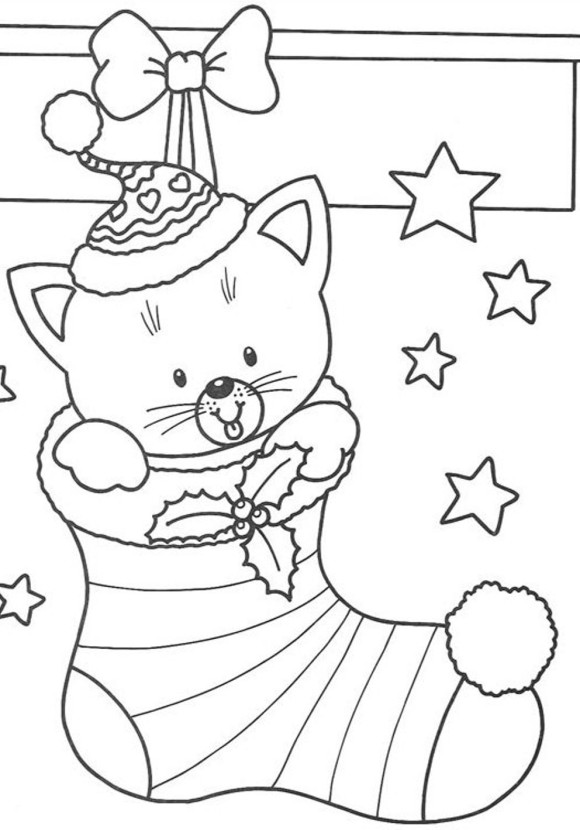 580x830 Christmas Kitty Coloring Pages