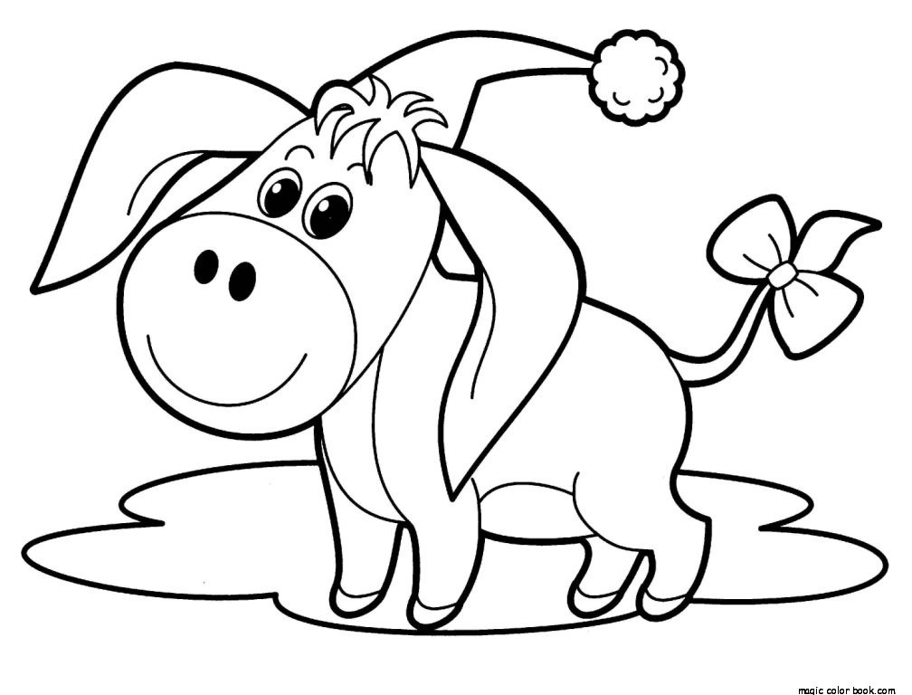 1008x768 Cute Animal Christmas Free Coloring Pages