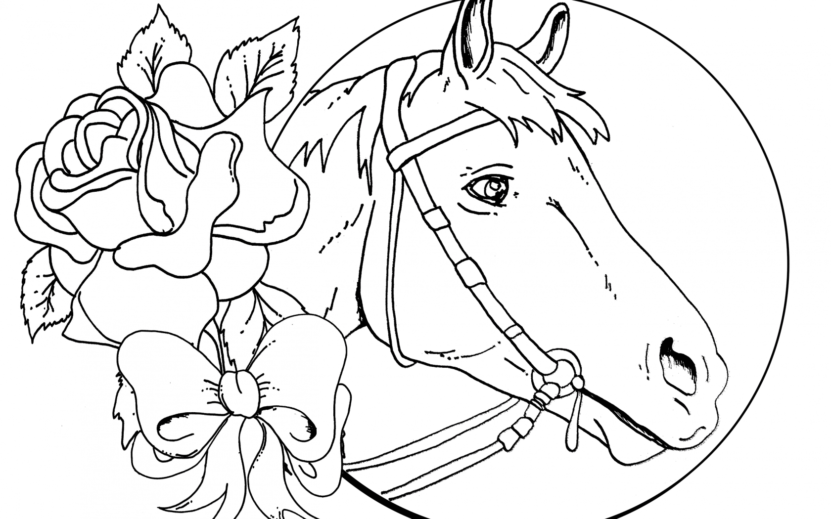 1680x1050 Stallion Horse Coloring Page Simple Horses Pages Spirit To Print