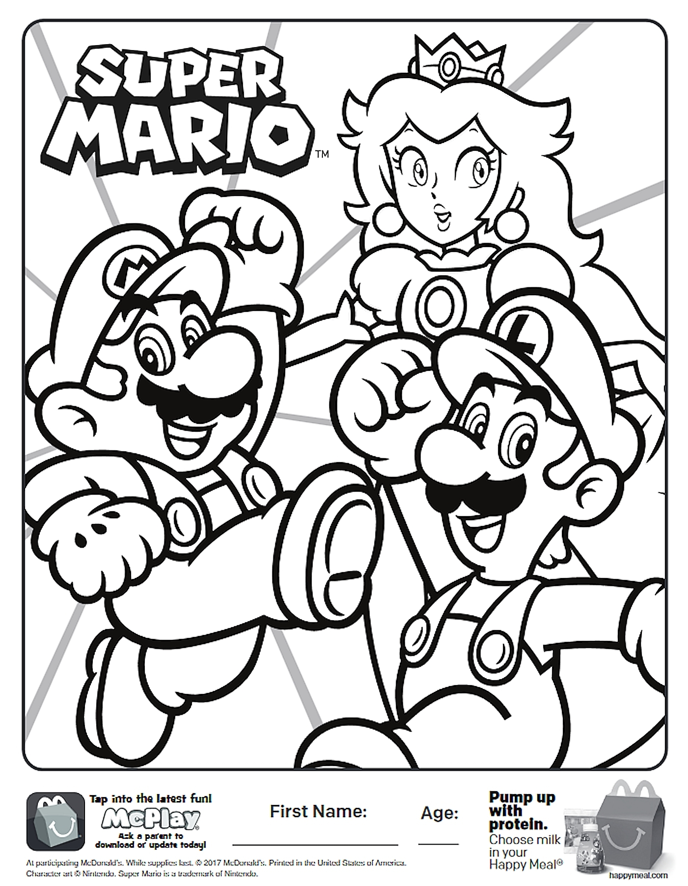 1402x1804 Here Is The Happy Meal Super Mario Coloring Page The Free