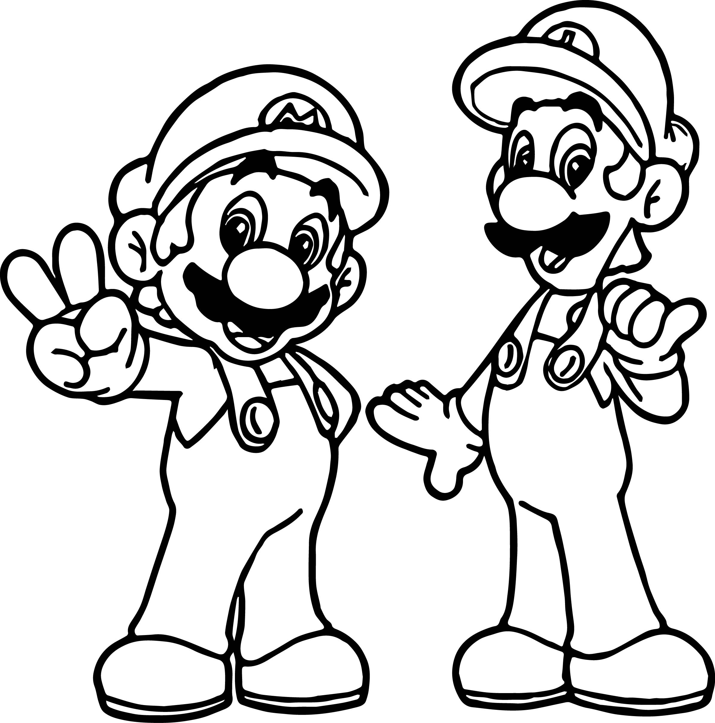 2389x2417 Super Mario And Luigi All Right Coloring Page Collection Free