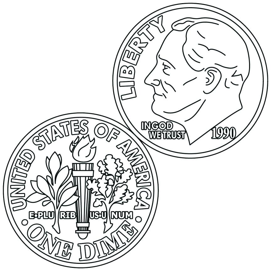 863x863 Play Money Coins Coloring Page Amazing Coin Coloring Page Fee