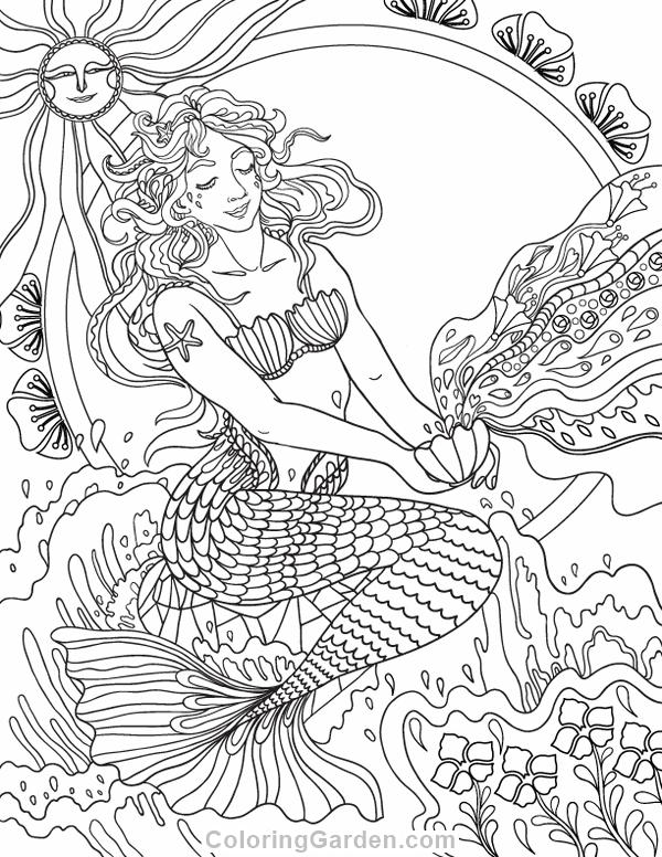 600x776 Free Printable Art Nouveau Mermaid Adult Coloring Page Download