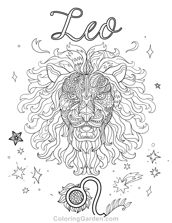 600x776 Free Printable Leo Adult Coloring Page Download It In Pdf Format