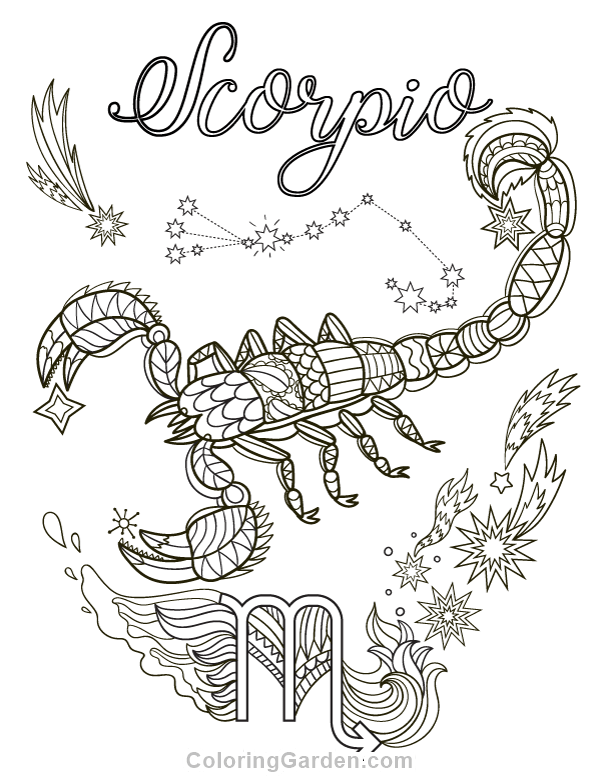 600x776 Free Printable Scorpio Adult Coloring Page Download It In Pdf