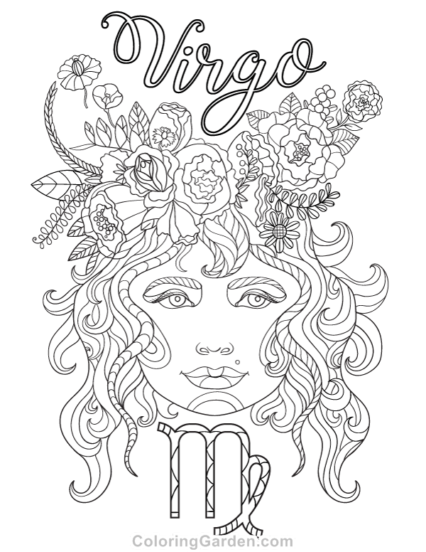 600x776 Free Printable Virgo Adult Coloring Page Download It In Pdf