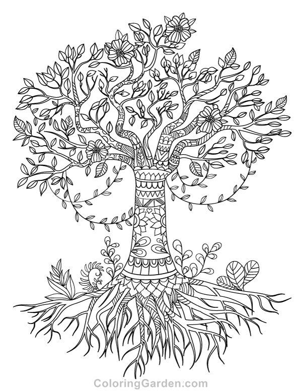 600x776 Free Printable Tree Of Life Adult Coloring Page Download It