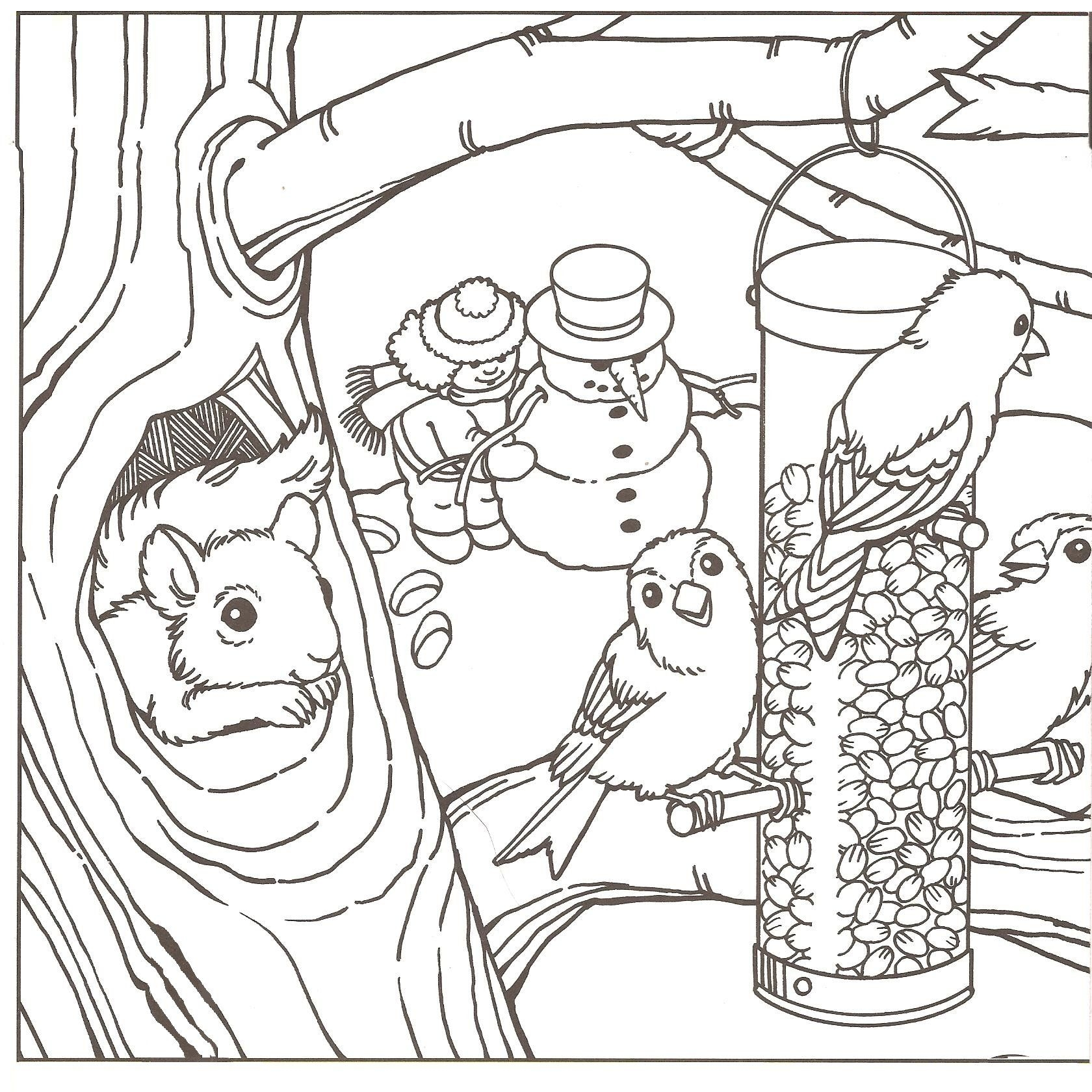 Free Coloring Pages Winter Scenes