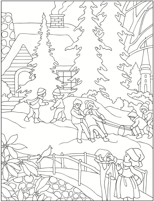 650x854 Best Winter And Christmas Coloring Pictures Images