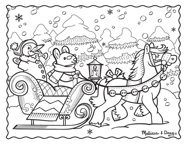 792x612 Winter Scene Coloring Sheets Free Printable