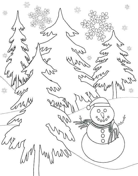 550x701 Winter Scene Coloring Pages