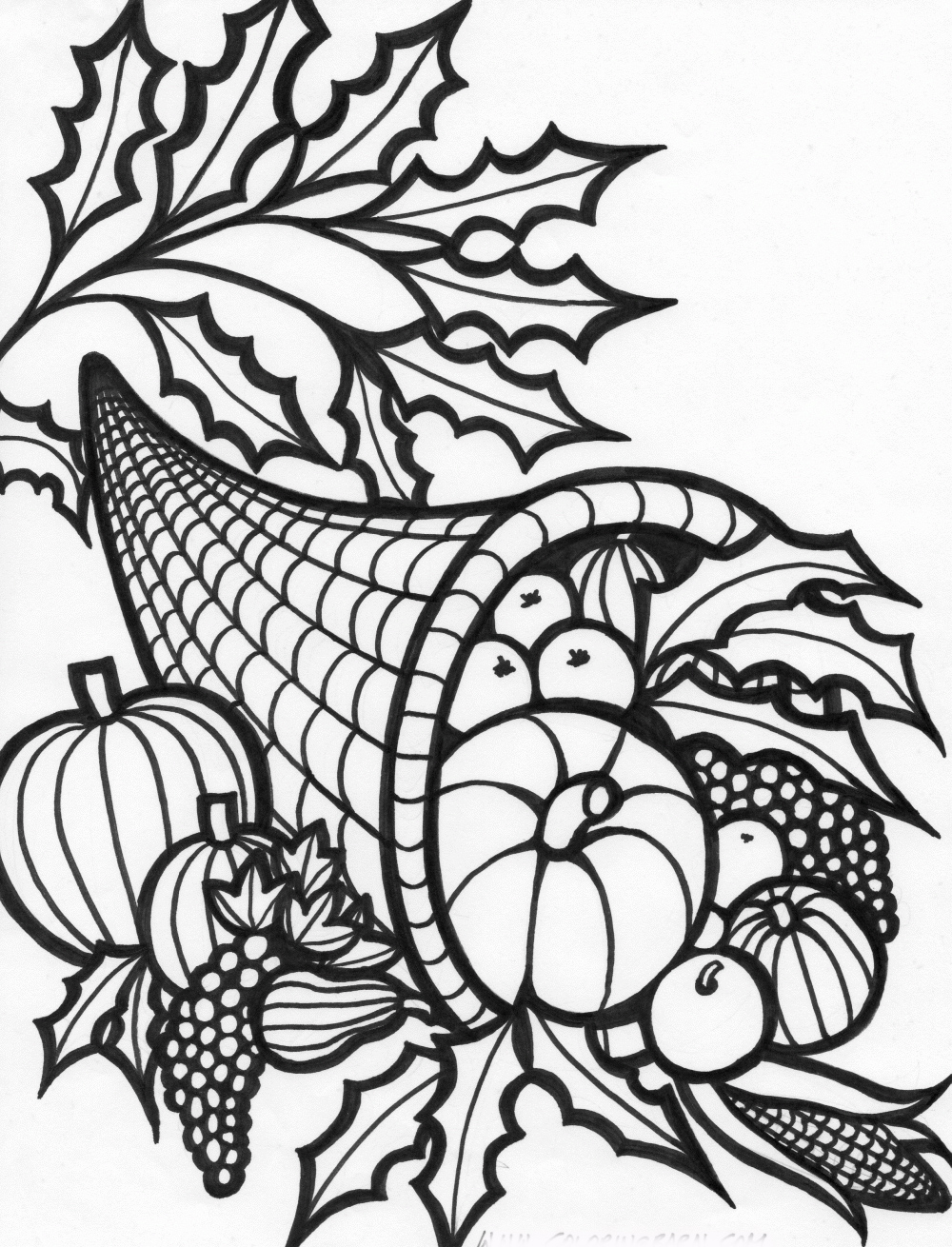 Free Cornucopia Coloring Pages