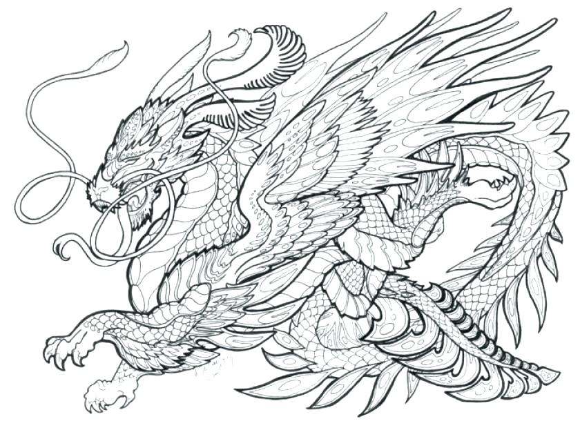 840x636 Free Printable Coloring Pages For Adults Advanced Dragons Dragon