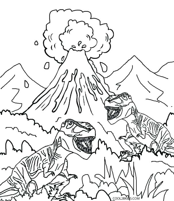 606x700 Printable Volcano Coloring Pages For Kids Volcano Dinosaur