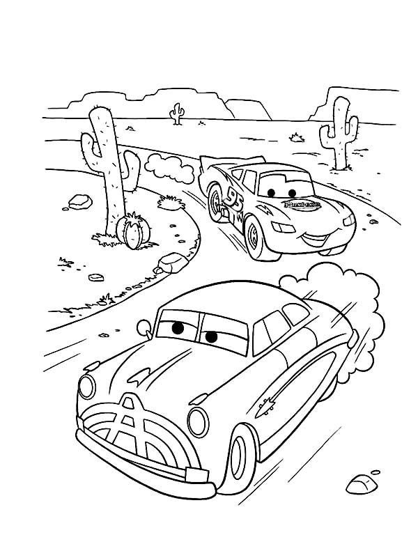 600x781 Doc Hudson Race With Lighting Mcqueen In Disney Cars Coloring Page