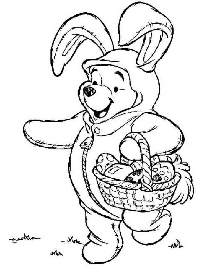 674x900 Winnie The Pooh On Easter Bunny Costume Disney Coloring Pages