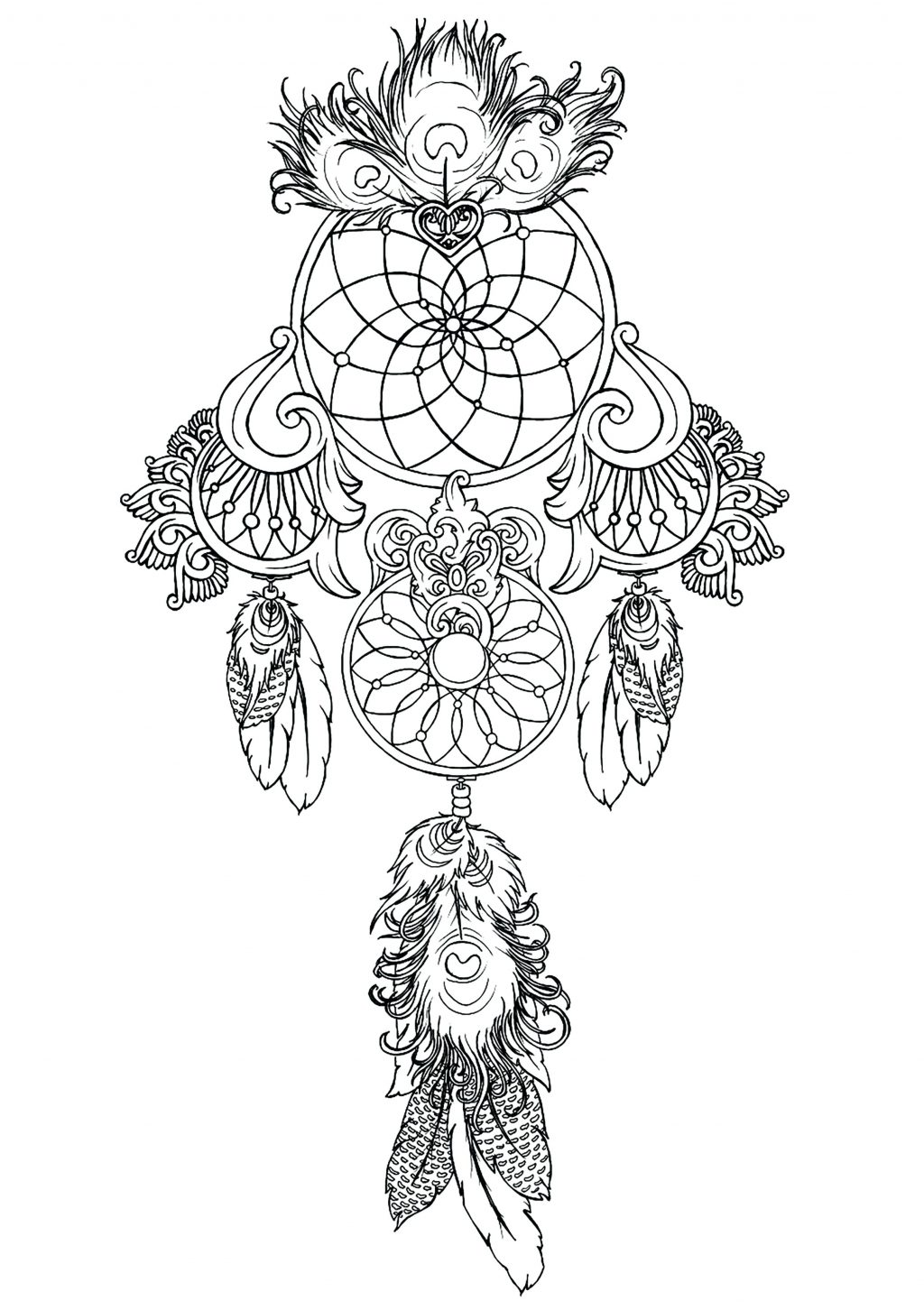 1024x1452 Coloring Page Dreamcatcher Coloring Pages To Print Free Dream
