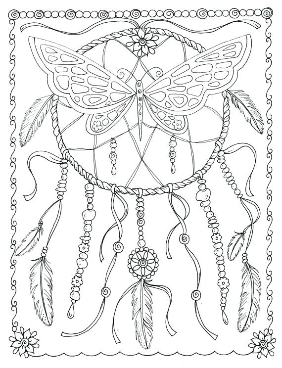 570x744 Dream Catcher Coloring Pages Butterfly Coloring Page Instant