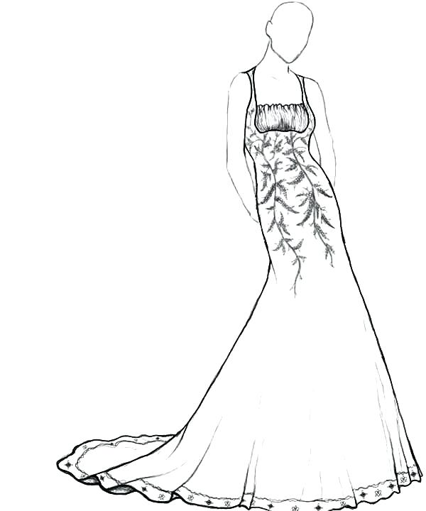 600x720 Dress Coloring Pages How To Draw Dress Coloring Pages Free Dress