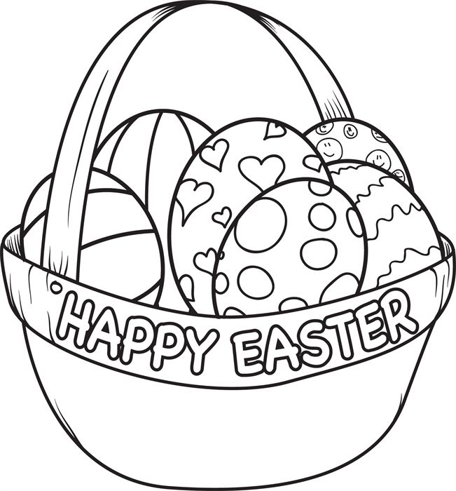651x700 Simple Easter Coloring Pages Easter Egg On Basket Coloring Pages
