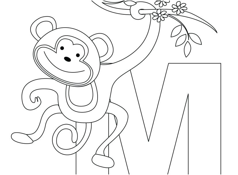 827x609 Easy Coloring Page Monkey Coloring Pages Gallery Monkey Animal