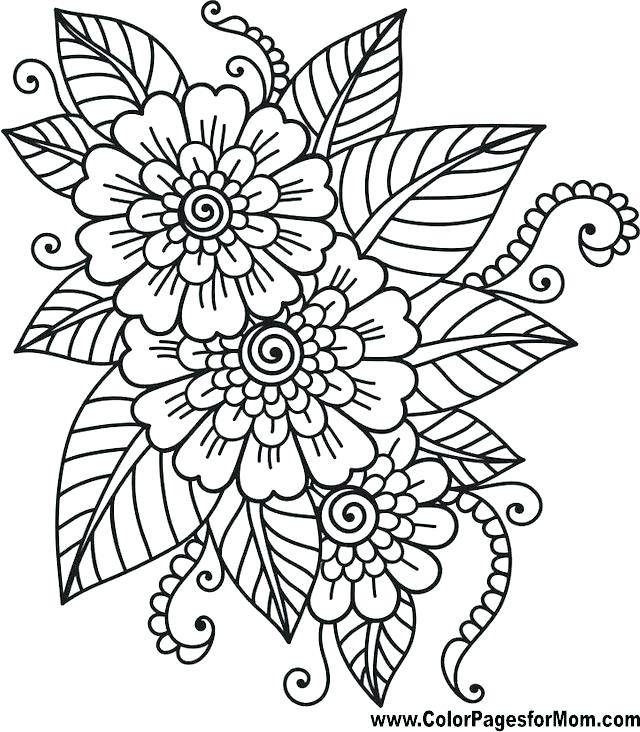 640x732 Flower Printable Coloring Pages Easy Flower Coloring Pages Flower