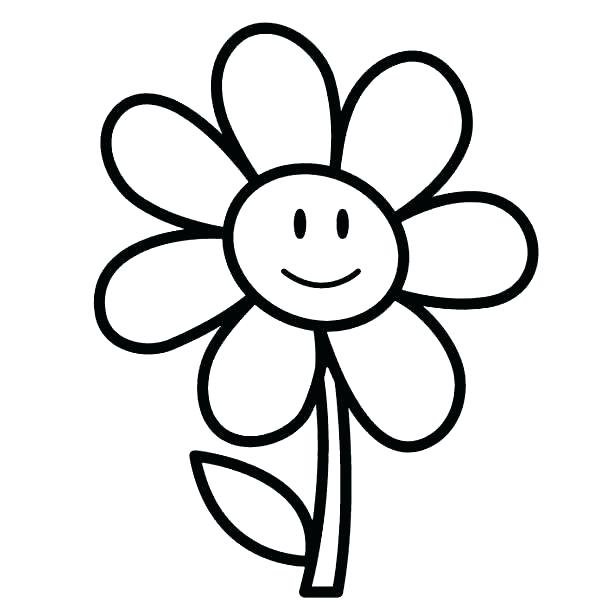600x613 Simple Flower Coloring Pages Easy Flower Coloring Pages Kids Photo