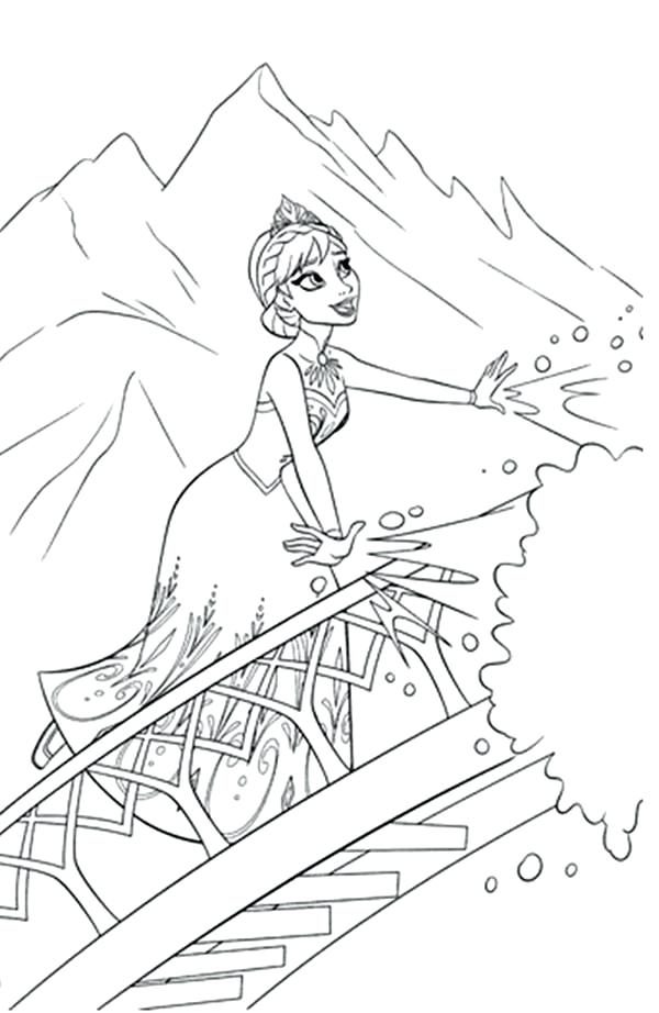600x922 Coloring Pages Elsa Frozen Making Snow Using Her Magic Power
