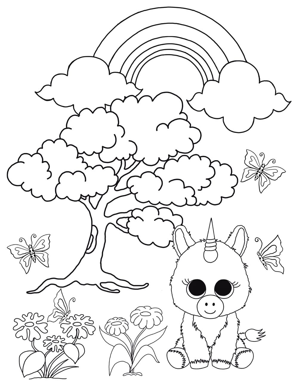 989x1280 Beanie Boo Coloring Pages Unicorn In The Enchanted Forest Free