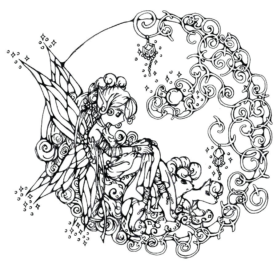 900x856 Fantasy Coloring Pages For Adults To Download And Print For Free