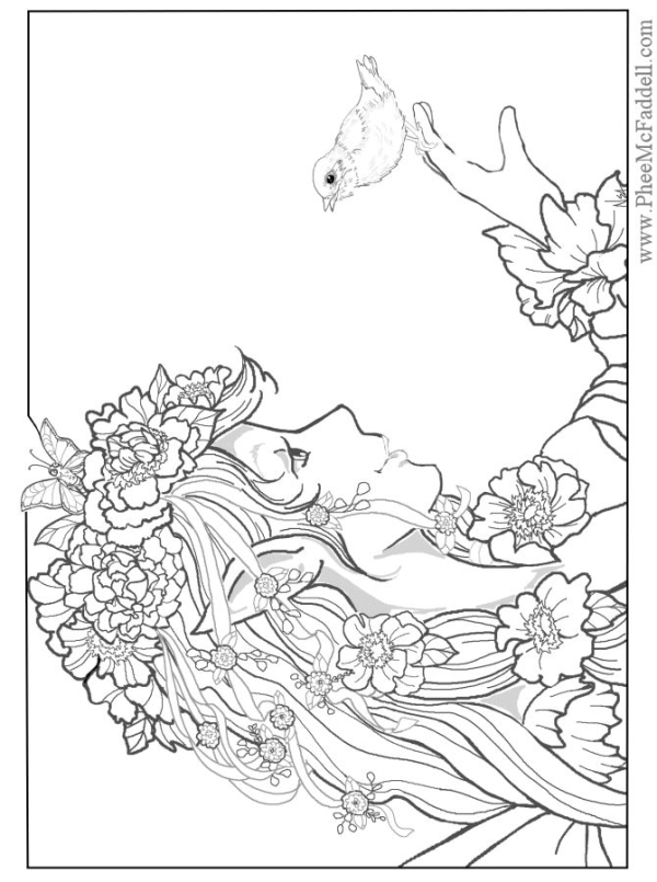600x805 Fantasy Coloring Pages For Adults