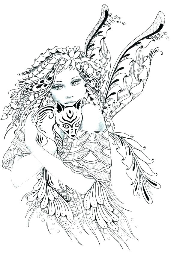 570x855 Free Fairy Coloring Pages Adults Fairy Coloring Pages