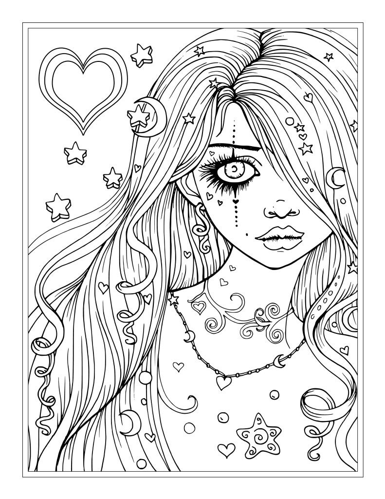 791x1024 Worry Free Fantasy Girl Coloring Page