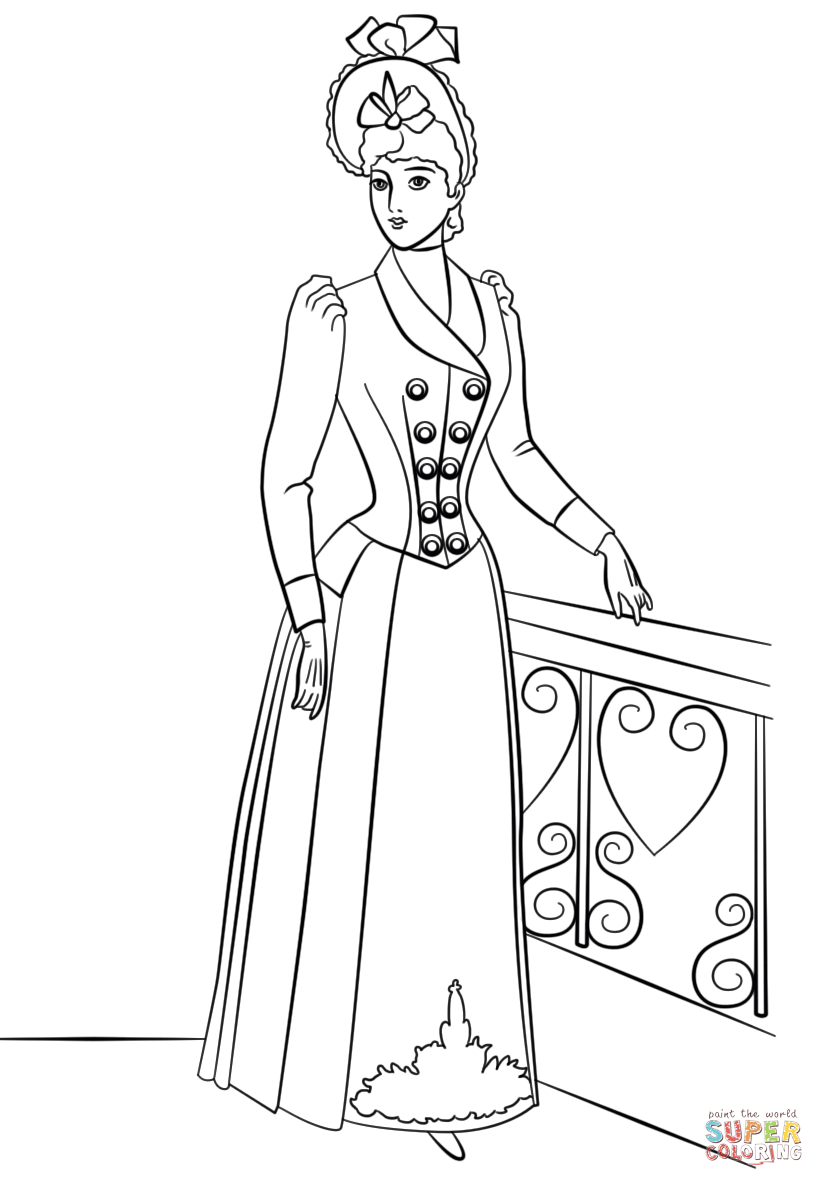 824x1186 Victorian Fashion Coloring Page Free Printable Pages Throughout