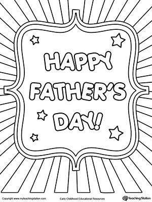 300x400 Father's Day Card Burst Coloring Page Worksheets, Free And Father